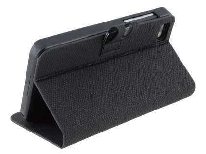 BlackBerry Z10 Synthetic Leather Wallet Case with Stand - Classic Black