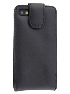 BlackBerry Z10 Genuine Leather Flip Case - Classic Black Leather Flip Case