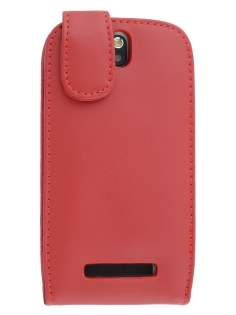 Genuine Leather Flip Case for HTC One SV - Red Leather Flip Case