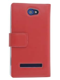Slim Genuine Leather Portfolio Case for HTC Windows Phone 8S - Red Leather Wallet Case