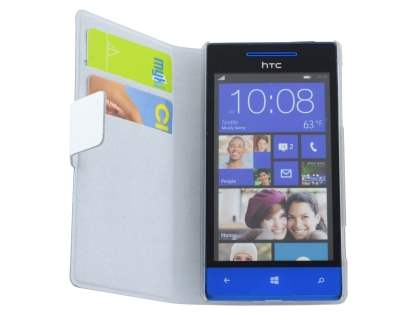Slim Genuine Leather Portfolio Case for HTC Windows Phone 8S - Pearl White
