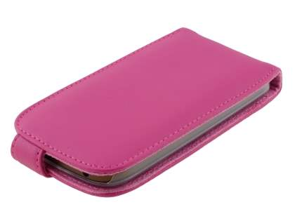 HTC One SV Genuine Leather Flip Case - Pink