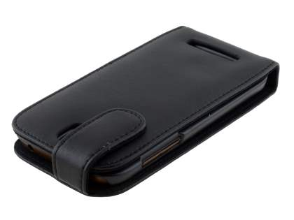 Genuine Leather Flip Case for HTC One SV - Classic Black