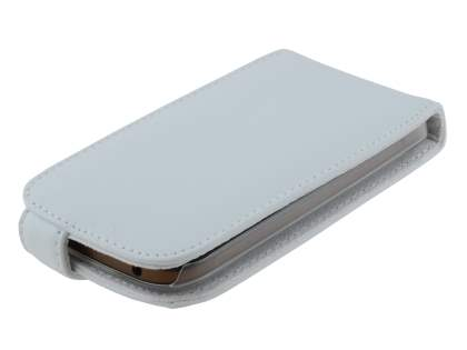 HTC One SV Genuine Leather Flip Case - Pearl White