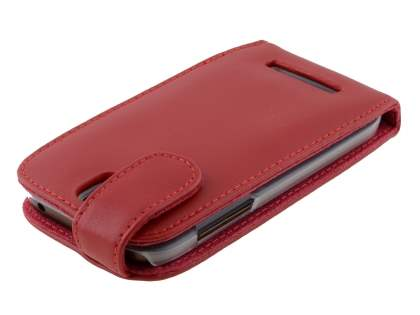 Genuine Leather Flip Case for HTC One SV - Red