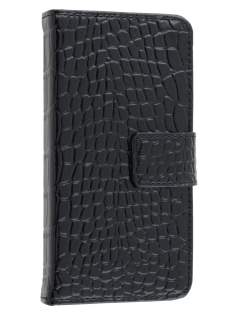 TS-CASE crocodile pattern Genuine leather Wallet Case for iPhone SE/5s/5 - Classic Black