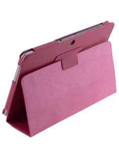 Samsung Galaxy Tab 2 10.1 Synthetic Leather Flip Case with Fold-Back Stand - Raspberry