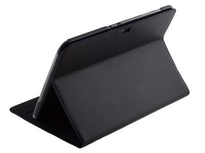 Premium Slim Genuine Leather Portfolio Case with Stand for Samsung Galaxy Note 10.1 - Classic Black