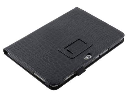 Crocodile Pattern Synthetic Leather Case for Samsung Galaxy Note 10.1 4G - Classic Black Leather Flip Case