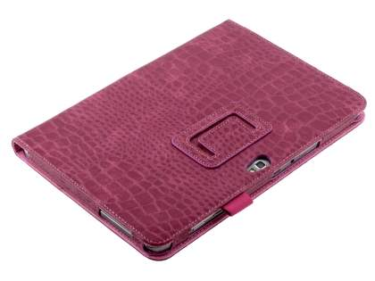 Crocodile Pattern Synthetic Leather Case for Samsung Galaxy Note 10.1 4G - Raspberry Leather Flip Case