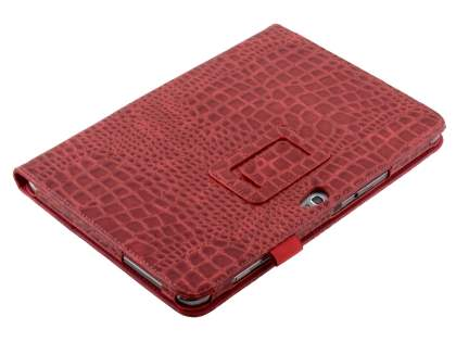 Crocodile Pattern Synthetic Leather Case for Samsung Galaxy Note 10.1 4G - Red Leather Flip Case