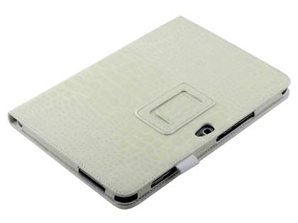Crocodile Pattern Synthetic Leather Case for Samsung Galaxy Note 10.1 4G - Cream