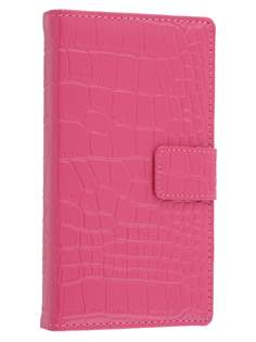 TS-CASE crocodile pattern Genuine leather Wallet Case for Sony Xperia Z - Pink