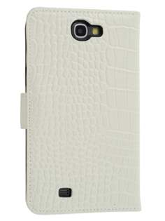 TS-CASE Crocodile Pattern Genuine Leather Wallet Case for Samsung Galaxy Note II - Pearl White Leather Wallet Case