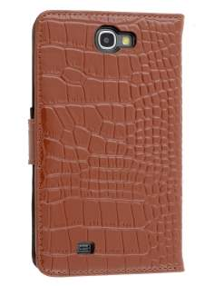 TS-CASE Crocodile Pattern Genuine Leather Wallet Case for Samsung Galaxy Note II - Brown Leather Wallet Case