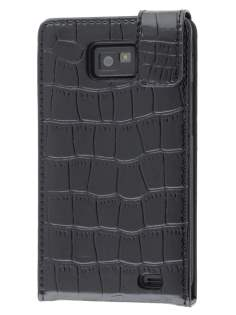 TS-CASE Crocodile Pattern Genuine leather Flip Case for Samsung I9100 Galaxy S II - Classic Black Leather Flip Case
