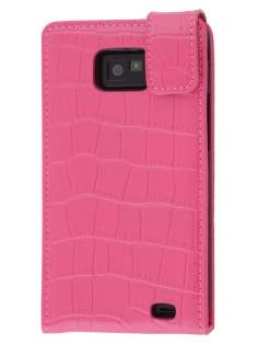 TS-CASE Crocodile Pattern Genuine leather Flip Case for Samsung I9100 Galaxy S II - Pink Leather Flip Case