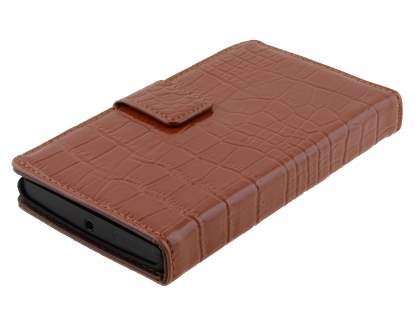 TS-CASE Crocodile Pattern Genuine Leather Wallet Case for Nokia Lumia 920 - Brown