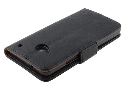 HTC One M7 801e Synthetic Leather Wallet Case with Stand - Black