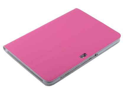 Premium Genuine Leather Slim Portfolio Case with Stand for Samsung Galaxy Note 10.1 - Pink