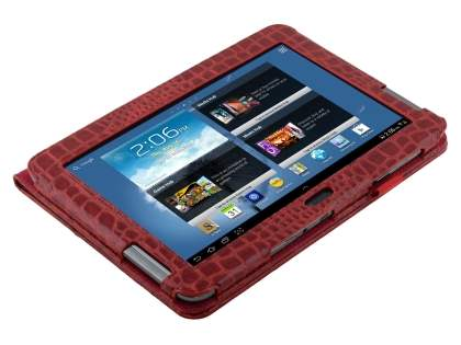 Samsung Galaxy Note 10.1 4G crocodile pattern Synthetic Leather Case - Red