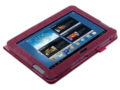 Samsung Galaxy Note 10.1 4G crocodile pattern Synthetic Leather Case - Raspberry