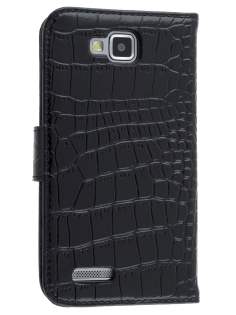 TS-CASE Crocodile Pattern Genuine Leather Wallet Case for Samsung Ativ S I8750 - Classic Black Leather Wallet Case
