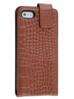 TS-CASE crocodile pattern Genuine leather Flip Case for iPhone SE/5s/5 - Brown Leather Flip Case