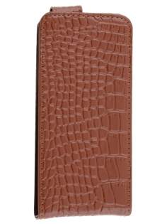 TS-CASE crocodile pattern Genuine leather Flip Case for iPhone SE/5s/5 - Brown