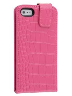 TS-CASE Crocodile Pattern Genuine Leather Flip Case for iPhone SE/5s/5 - Pink Leather Flip Case