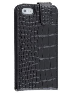 TS-CASE crocodile pattern Genuine leather Flip Case for iPhone SE/5s/5 - Classic Black Leather Flip Case