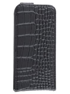 TS-CASE crocodile pattern Genuine leather Flip Case for iPhone SE/5s/5 - Classic Black