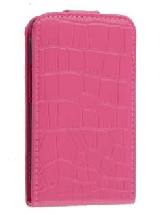 TS-CASE crocodile pattern Genuine leather Flip Case for Samsung S5830 Galaxy Ace - Pink