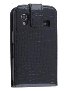 TS-CASE crocodile pattern Genuine leather Flip Case for Samsung S5830 Galaxy Ace - Classic Black