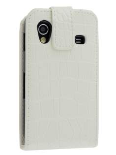 TS-CASE crocodile pattern Genuine leather Flip Case for Samsung S5830 Galaxy Ace - Pearl White