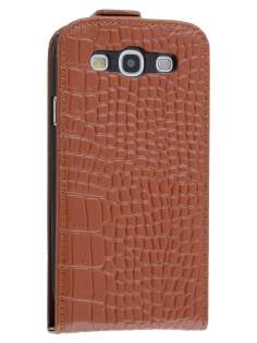 TS-CASE Crocodile Pattern Genuine Leather Flip Case for Samsung I9300 Galaxy S3 - Brown Leather Flip Case