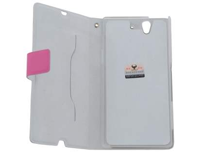 Slim Genuine Leather Portfolio Case for Sony Xperia Z - Pink