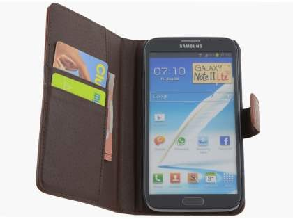 TS-CASE Crocodile Pattern Genuine Leather Wallet Case for Samsung Galaxy Note II - Brown