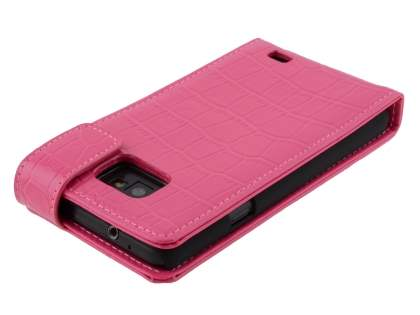 TS-CASE Crocodile Pattern Genuine leather Flip Case for Samsung I9100 Galaxy S II - Pink