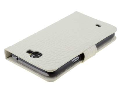 TS-CASE Crocodile Pattern Genuine Leather Wallet Case for Samsung Galaxy Note II - Pearl White