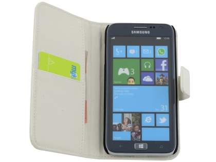 TS-CASE crocodile pattern Genuine leather Wallet Case for Samsung Ativ S I8750 - Pearl White
