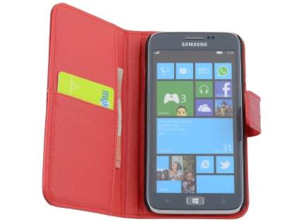 TS-CASE crocodile pattern Genuine leather Wallet Case for Samsung Ativ S I8750 - Red