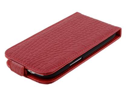 TS-CASE crocodile pattern Genuine leather Flip Case for Samsung I9300 Galaxy S3 - Red