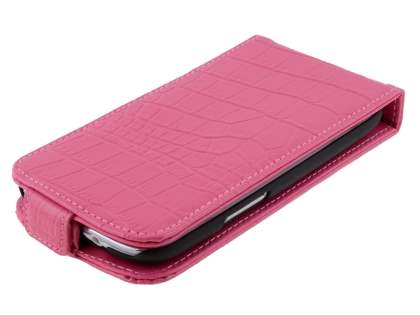 TS-CASE Crocodile Pattern Genuine Leather Flip Case for Samsung I9300 Galaxy S3 - Pink