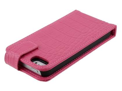 TS-CASE crocodile pattern Genuine leather Flip Case for iPhone SE/5s/5 - Pink