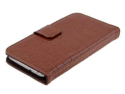 TS-CASE crocodile pattern Genuine leather Wallet Case for Samsung Ativ S I8750 - Brown