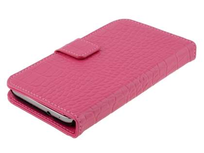 TS-CASE crocodile pattern Genuine leather Wallet Case for Samsung Ativ S I8750 - Pink