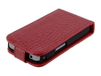 TS-CASE Crocodile Pattern Genuine Leather Flip Case for Samsung S5830 Galaxy Ace - Red
