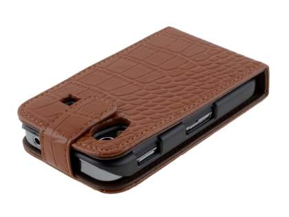 TS-CASE crocodile pattern Genuine leather Flip Case for Samsung S5830 Galaxy Ace - Brown