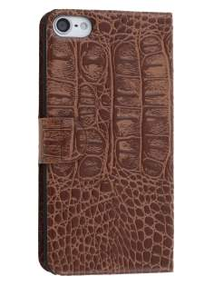 Synthetic Crocodile Leather Portfolio Case with Stand for iPod Touch 5/6 - Coffee Leather Wallet Case
